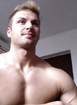 Muscle man with webcam