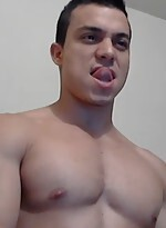 Hunk jerking off and cums